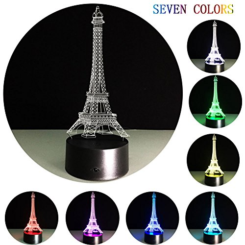 Yxsd 3D Luminous Visual Light 7 Color Change USB Battery-Powered Touch/Touch Touch Desk Console Lamp Nice Gifts Home Decorations (Eiffel Tower)