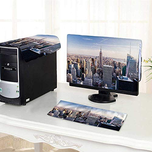 (UHOO2018 One Machine LCD Monitor Keyboard Cover Manhattan with Skyscrapers New York City top View dust Cover 3 Pieces /28