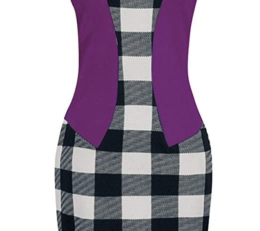93 Shortsleeve,L /… Birdfly Office Womens Plaid Patchwork Pencil Skirts Formal Working Dress with Three Quarter Sleeve Plus Size 2L 3L Black