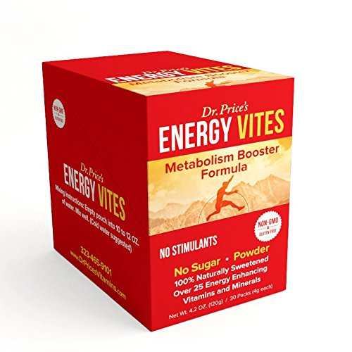 Energy Vites: Metabolism Booster Formula + B Complex & CoQ10 | (30 powder packets) Natural Energy Drink Mix | Dr. Price's Vitamins