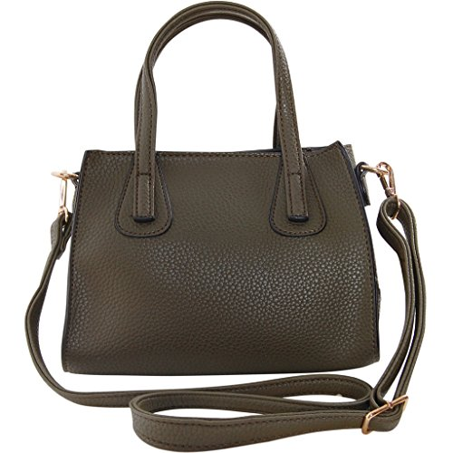Humble Chic Vegan Leather Satchel Crossbody Bag - Small Convertible Zip Top Handle Shoulder Purse Handbag, Olive, (Leather Small Top Zip)