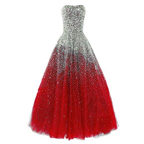 Rot Liebsten Lovelybride formale lange Erstaunlich Abendkleider Perlen Abendkleid Ox0P7