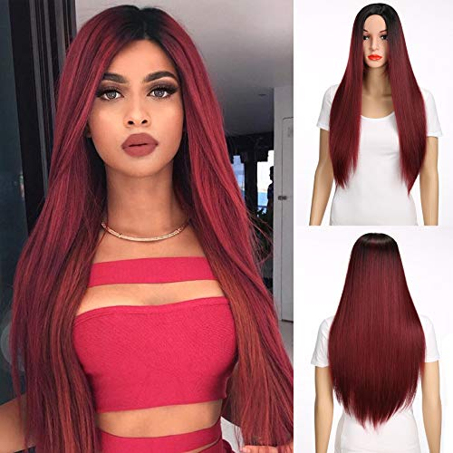 MERISIHAIR Wine Red Long Straight Wig Hair Synthetic Heat Resistant Party Cosplay Ombre Color for Women With Wig Cap 26 Inches 300 -