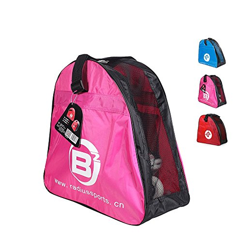 Yueku Ice Skate Bag, Premium Bag to Carry Ice Skates, Roller Skates, Inline Skates for Kids and Adults (Pink)