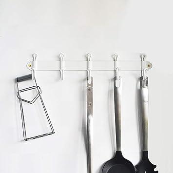 f-bartl perchero perchero de pared colgador con 5 Doble Percha Ganchos para Abrigos, sombreros, bufandas, clave, metal, Blanco, Length: 14 ½