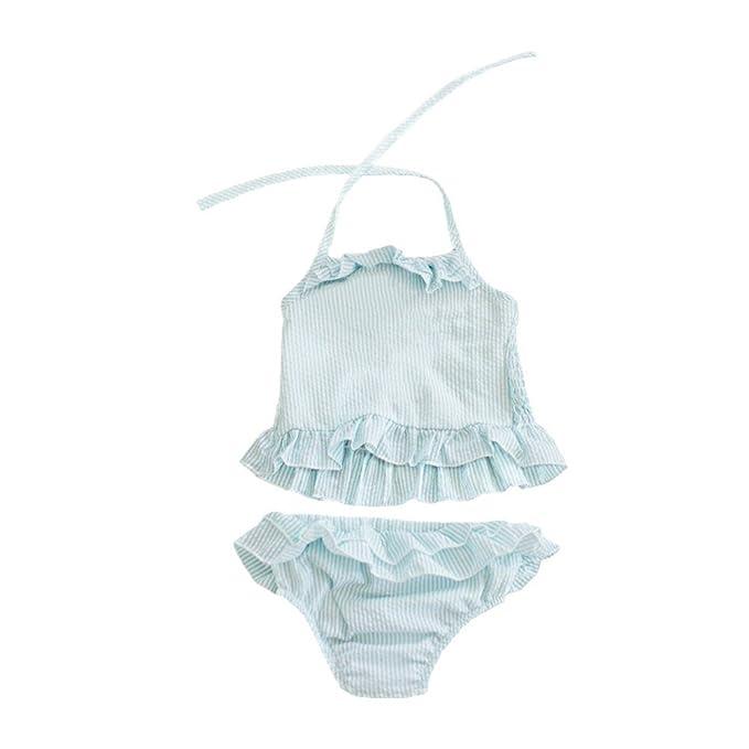 568555e9f0 MONOBLANKS Baby Girls Ruffle Seersucker Swimsuit Two Piece Bikini Swimwear  Can be Monogrammed (2t,