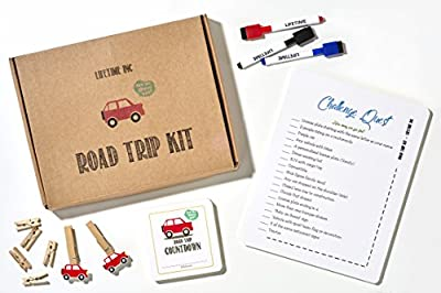 Road Trip Travel Games Activities- Dry Erase Countdown Cards Map Reusable Markers Games On the Go For Family Kids Teen Girls Boys License Plate Hangman Tic Tac Toe Dots Connect Battleship Airplane