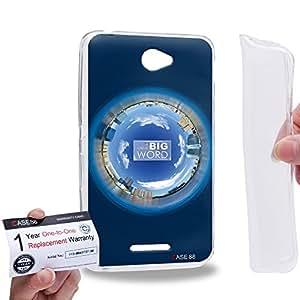 Case88 [Sony Xperia E4 / E4 Dual] Gel TPU Carcasa/Funda & Tarjeta de garantía - Art Fashion Navy Blue Humor Inspiration