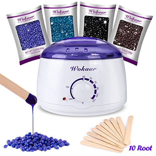Wokaar Wax Warmer Hair Removal Waxing Kit with 4 Hard Wax Beans and 10 Wax Applicator ()
