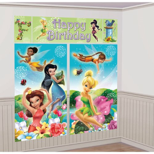 Amscan Disney's Tinkerbell Scene Setter Party Background, Multicolored, 59