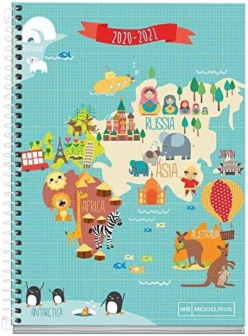 Comprar MIQUELRIUS - Agenda Escolar Mapamundi Curso Lectivo 2020-2021, Castellano, Semana vista, Tamaño 155x213mm, Papel 70g, Cubierta cartón extraduro, Color Azul