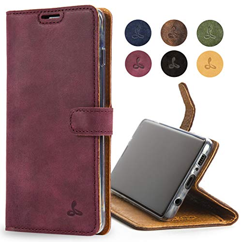 Snakehive Samsung Galaxy S10 Case, Luxury Genuine Leather Wallet with Viewing Stand and Card Slots, Flip Cover Gift Boxed and Handmade in Europe for Samsung Galaxy S10 - (Plum)