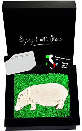 Awesome Valentine's Day Gifts ❤ Hippo HandMade in Italy Elegant gift box & message card included ♥ Rare stone contains fossil fragments ❤ Symbol of strength calmness courage motherhood ☂ Mum Birthday