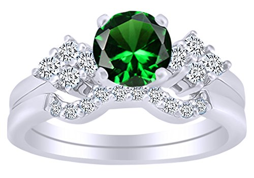 14k Wg White Gold Emerald - AFFY Round Shaped Simulated Emerald & Cubic Zirconia Solitaire Bridal Ring Set in 14k White Gold Over Sterling Silver Ring Size - 6.5