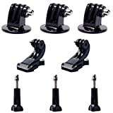 QKOO 3x Tripod Mount Adapter + 2x Vertical Surface Quick Release J-Hook Buckle Mount Base + 3x Long Thumb Screw with Cap for GoPro Accessories for GoPro Hero 1 2 3 3+ 4 5 6 Camera SJ4000 SJ5000 SJ6000