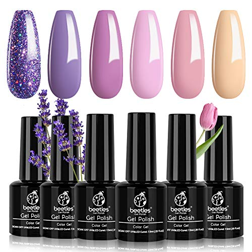 Beetles Gel Nail Polish Set, Lucky Lavendar Collection Purple Lilac Glitter Nude Pink Nail Lacquer Kit Nail Art Salon Manicure at Home Valentine