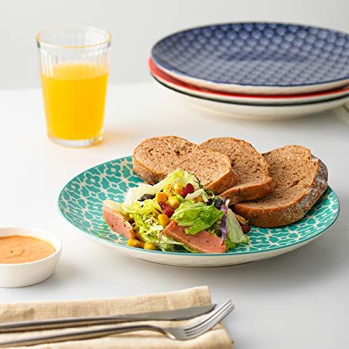 Steak Sandwiches Salad Serving Plates Set of 6 Salad DOWAN Dinner Plates Ceramic 10 White Thanksgiving Serving Dishes Serving Dishes for Pasta