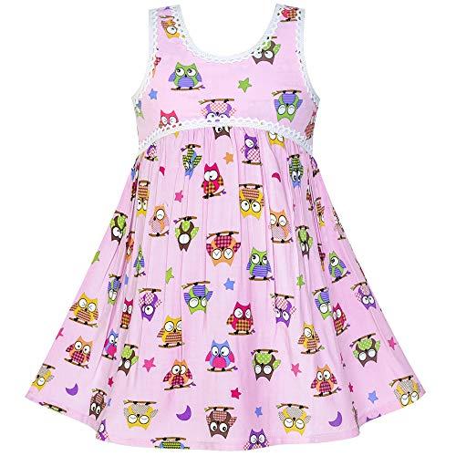 Girls Dress Sleeveless Pink Owl A-line Cotton Casual Size 4 ()