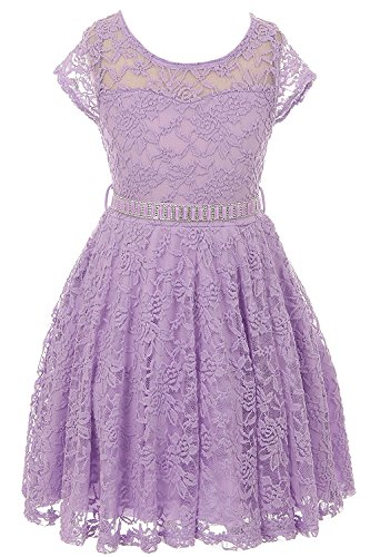 iGirldress Big Girls Floral Lace Flower Girls Dresses Lilac Size 14 - Girls Lilac Flower Girl