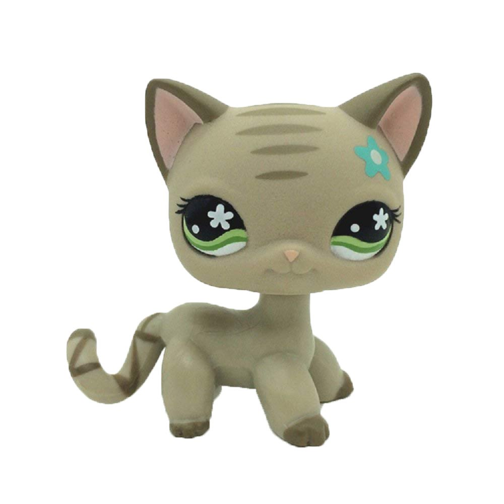 LPS #483 Gray Short Hair CAT Green Eyes Blue Flower Toy Kids Gift 1pc crossed3_Pet toy store