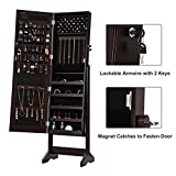 SONGMICS LED Jewelry Cabinet Armoire with Mirror, Lockable Jewelry Organizer with 20 Marquee Lights, Brown UJJC81BR