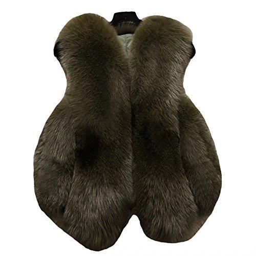 【ユウエ】毛皮ベスト レディース 毛皮チョッキ ファーベスト ファーチョッキ 毛皮アウター 袖なし フェイクファー 014-jsfs-2033(4XL グリーン )
