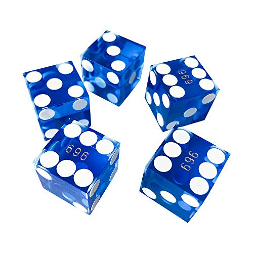 YH Poker Set of 5 Precision 19mm Seriallized Casino dice with Razor Edges and Corners(Blue)]()