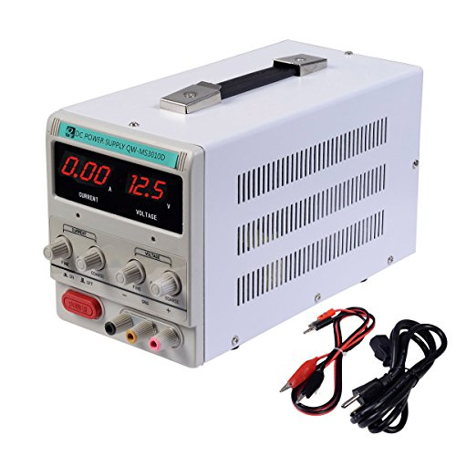 30V 10A 110V Precision Variable DC Power Supply Digital Adjustable w/Clip Cable (Clips 110 Video)