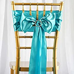 Efavormart 25pcs Turquoise Satin Chair Sashes Tie Bows for Wedding Events Decor Chair Bow Sash Party Decoration Supplies 6 x106