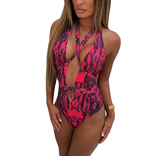 Susupeng Women One Piece Halter Wrap Fitness Sexy Snake Skin Pattern Print Backless Swimsuit (X-Large, Plunge Red) (Stores That Sell High Waisted Bathing Suits)