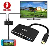 HDMI Type C USB C Hub Adapter Compatible for Nintendo Switch and HUAWEI P20, MIIRR 3 IN 1 Digital Multiport Cable Converter for Nintendo Switch (Black)