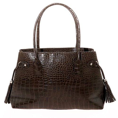 Leather Alligator Beautiful Women's PU Handle Brown Hobo Twinya Dark Satchel Top Crocodile Handbags Tote RxBUww1I