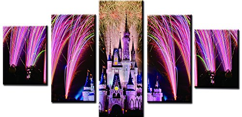 Wowdecor Canvas Prints 5 Pieces Multiple Pictures Wall Art - 5 Panels Beautiful Fireworks Castle Giclee Pictures Painting Printed on Canvas, Posters Wall Decor Gift - UNFRAMED (Large)
