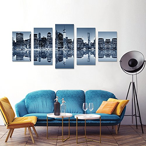New York Small Poster (ARTGOW 5 Piece New York City Beautiful Night View Canvas Wall Art Home Décor Print Poster Paintings for Living Loom Framed Ready to Hang (bule))