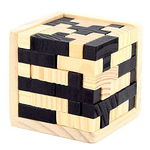 Qiyun Wood PuzzlesEducational Wood 3D Cube Toys for Kids Brain Taser...