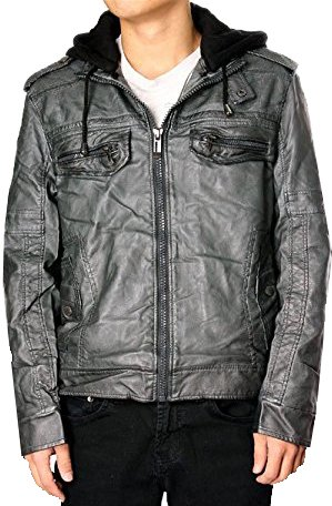 Grey Action Leather (RNZ Premium Designer Men's Faux Leather Jacket - M8-Grey-S)