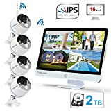 YESKAMO Long Range Wireless Outdoor Home Security Camera System with 16inch 1080p IPS Monitor 2TB Hard Drive [Floodlight & Audio]4 Spotlight IP Cameras WiFi 8 Channel Surveillance DVR Kits 2 Way Audio: more info