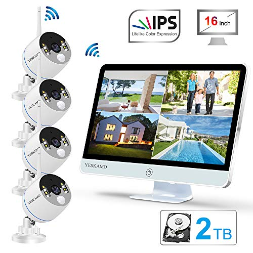YESKAMO Long Range Wireless Outdoor Home Security Camera System with 16inch 1080p IPS Monitor 2TB Hard Drive [Floodlight & Audio]4 Spotlight IP Cameras WiFi 8 Channel Surveillance DVR Kits 2 Way Audio