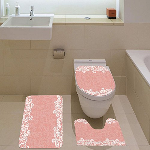 3 Piece Bathroom Mat Set,Peach,Lace Design on Soft Colored Background Ornamental Pattern Wedding Inspired Image,Coral White,Bath Mat,Bathroom Carpet Rug,Non-Slip by iPrint (Image #1)