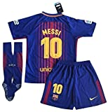 #6: TrendsNow New 2017-2018 Messi #10 Barcelona Home Jersey Shorts and Socks for Kids and Youths