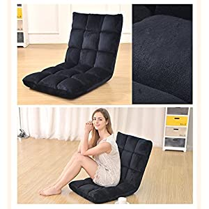 Do4U Home Adjustable Folding Lazy Sofa Six-Position Relax Floor Chair & Gaming Chair -Floor Cushion Multiangle Couch Beds for Watch TV/Gaming/Midday Rest/Nap (Black)