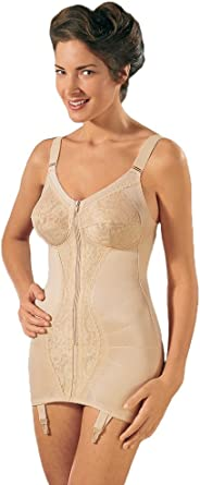 46E corset NEW Ladies Zip Corselette Non Wired Firm Control Lace Cups Size 36B