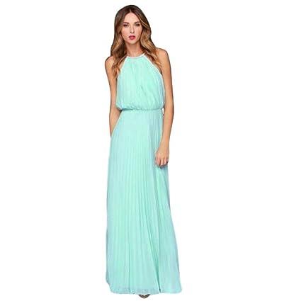 e658f492847 Amazon.com  Balakie Ms. Solid Color Chiffon Sleeveless Halter Beach Dress  Evening Party Long Maxi Dresses (L