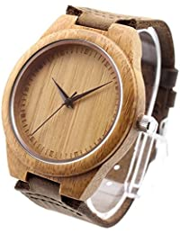 Ideashop® New Vosicar Retro Leather Fashion Bamboo Wooden Watch Japan Movement Quartz With Genuine Cowhide Leather...
