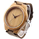 Ideashop® New Vosicar Retro Leather Fashion Bamboo Wooden Watch Japan Movement Quartz With Genuine Cowhide Leather Band Casual Watches Creative Gifts For Men