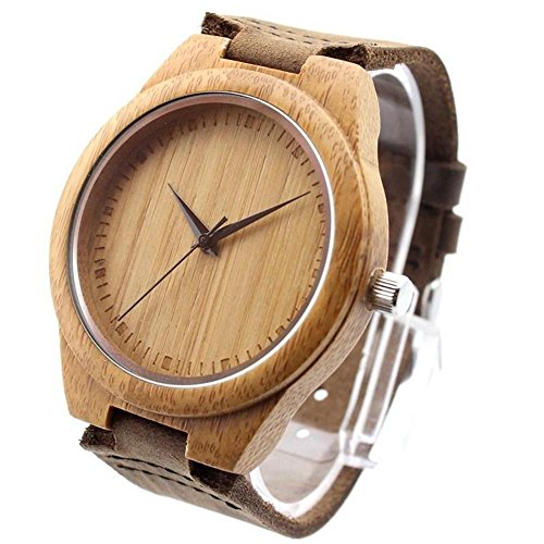 (Ideashop Vosicar Retro Leather Fashion Bamboo Wooden Watch Japan Movement Quartz with Genuine Cowhide Leather Band Casual Watches Creative Gifts for)