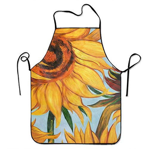 aportt Sunflower Print Kitchen Funny Apron for Kitchen BBQ Barbecue Cooking Grilling Tailgate Bacon ()