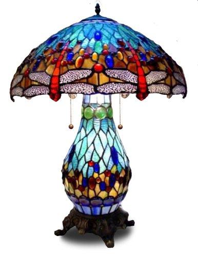 1908 Studios Blue DragonflyTiffany Table Lamp w/ Lit Base