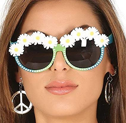 d631a96dd8 Amazon.com  Ladies Daisy Flower 1960s Sixties 1970s Seventies 60s 70s  Hippie Hippy Carnival Festival Tinted Glasses Sunglasses Fancy Dress  Costume ...