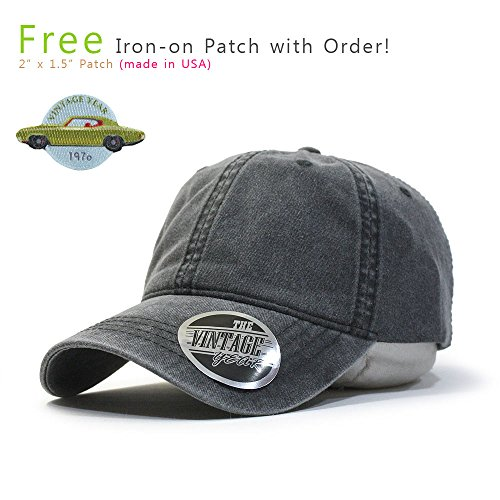 (Vintage Washed Dyed Cotton Twill Low Profile Adjustable Baseball Cap (Charcoal Gray 70P))